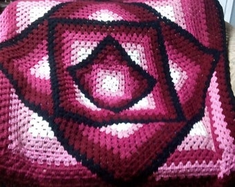"50""x 50"" Crocheted Blanket, ""Square In A Square Afghan"""