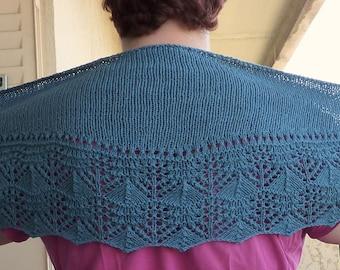 "Blue ""denim"" cotton and linen scarf-shawl"