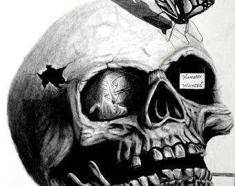 Skull Butterfly Art Drawing Print