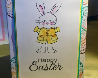 Distress Ink Rainbow Easter Egg Greeting Card