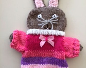Puppet Easter bunny, Handdoll, handmade, knitted, spring decoration