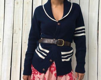 SALE Vintage Shawl Varsity Striped Pocket Cardigan Sweater, Navy/White Size Small