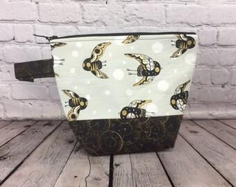 Steampunk Owls w/ Full length pocket, Knitting project bag, Crochet project bag,  Zipper Project Bag, Yarn bowl
