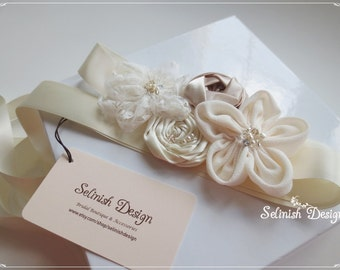 Vintage Sash Belt- Bridal Sash in Ivory Cream, Beige, Beaded Wedding Sash by Selinish-code: SB157cream