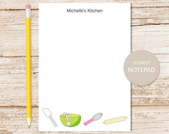 personalized notepad . kitchen notepad . grocery list . baker, cook note pad . personalized stationery stationary