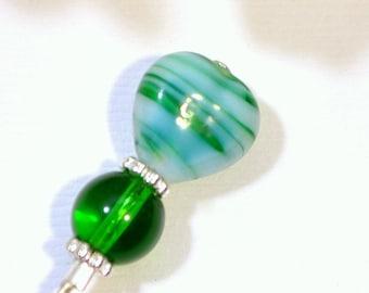 Green Hat Pin 3 inch Heart Hijab Pin Lapel Pin Green Sarong Pin Green Scarf Pin Beaded Stick Pin Handmade
