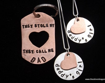 Father's Day gift for Girl Dad, Girl Dad keychain necklace set, Daddy's Girl necklace, They Call Me Dad keychain, Dad from Daughters