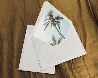 Printable Envelope Liner Palm Tree Tropical Beach Wedding Event
