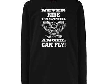 Kids Rider Angel Art Motorcycle Apparel Crew Neck T-shirt  - N4693D