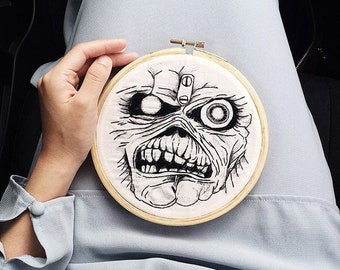Eddie (Iron Maiden) Embroidery Hoop Art