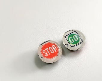 Stop - Go - Vintage Map Magnets - set of 2 magnets handmade from vintage maps - guy gift- travel souvenir