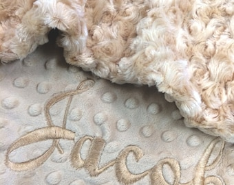 Stroller Size Baby Blanket, Personalized Baby Blanket, Baby Latte Minky Baby Blanket, Newborn Girl Baby Blanket, Camel, Stroller Size