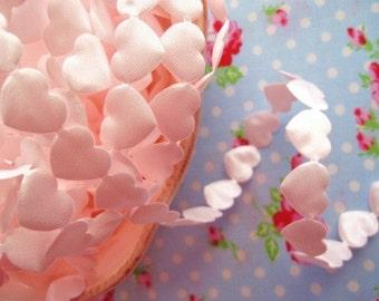 Valentine Pale Pink Satin Hearts Cut Out Ribbon/Trim - 3/4 inch - 1 Yard
