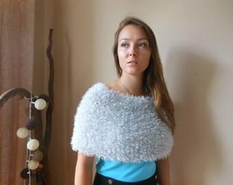 Hand Knitted Shawl. Faux Fur Wedding Wrap. Bridal Capelet. Wedding Shrug. Wedding Wrap. Poncho Neck Warmer  Grey Choose Color