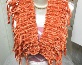 Soft and short orange scarf