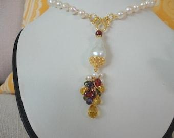 Akoya baroque pearl gemstone necklace , pearl gold necklace , drop pearl necklaces , cluster pearl necklace , pearl necklace for women