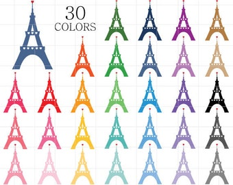 Eiffel Tower Clipart Silhouette Clip Art Heart Love Paris Colorful Towers