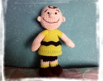 Instant download - PDF crochet pattern - Charlie Brown Peanuts 9.6 inches amigurumi doll