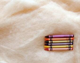 MAORI WOOL BATTING - Acacia Cream - wool fiber for needle felting and wet felting (approximately 1 ounce) - From Purple Moose Felting