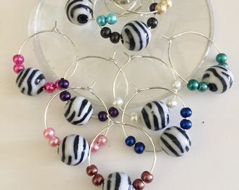 Set of 10 Zebra Wine Glass Charms, Barware, Housewarming Gift, Hostess Gift, Unique Colorful Stocking Stuffers, Bunco Prizes, Gifts Under 20