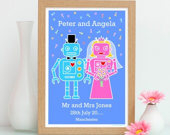 Robot Personalised Wedding Print, Quirky Wedding Gift, Funny Wedding Gift, Wedding Gift Couple, Couple Wedding Print, Robot Print, Geek Gift