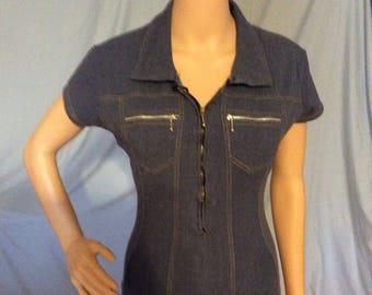 Designer Cristina; Denim onsie, bodysuit,Mod,vintage,retro size small-medium