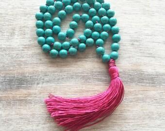 tassel necklace- bohemian jewelry- beaded tassel necklace- bohemian necklace- beaded necklace- turquoise necklace- gift for women