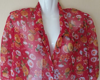 Vintage 80s Sewn Red with Floral Print Blouse,Transparent Floral Blouse,Buttons Front Short Sleeve Oval Cut Blouse,Summer Floral Blouse