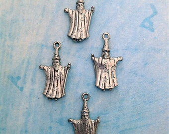 Wizard Charms---4 pieces-(Antique Pewter Silver Finish)--style 835-Free combined shipping