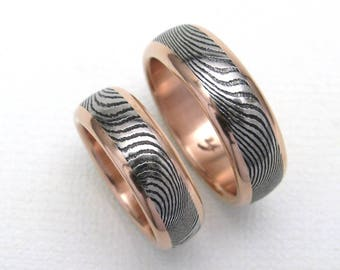 Stainless Steel Damascus Ring Set With 14K Rose Gold Rails