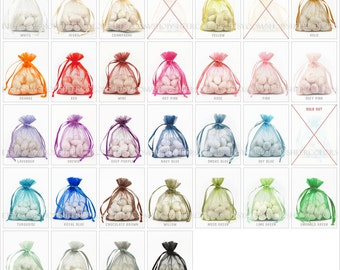 70 Organza Bags, 3 x 4 Inch Sheer Fabric Favor Bags,  For Wedding Favors, Drawstring Jewelry Pouch- CHOOSE Your Color Combo