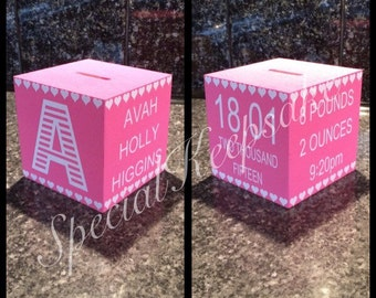 Personalised Wooden Money Box Baby Birth Details Handmade Unique Christening New Baby Birthday Present Savings Fund