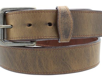 Oil Tanned Leather Belt with Scalloped overlay tabs