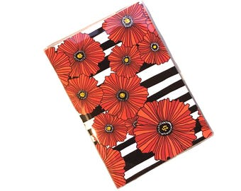 Red poppies passport cover - black and white stripe - modern floral poppy passport holder - travel accessory - summer vacation