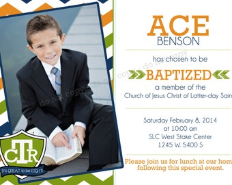LDS Invitation - CTR - Custom Boy LDS Baptism Photo Announcement/Invitation