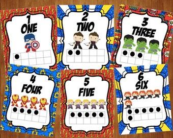 Super Hero Number Cards 1-10, Super Hero Bedroom Decor, Super Hero Playroom Decor, Super Hero Classroom, Super Hero Decoration, PRINTABLE