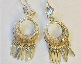 Vintage sterling silver fringe dangle earrings 925