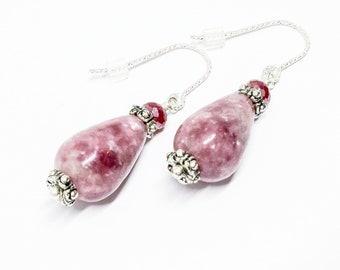 Lepidolite and Ruby Gemstones . Sterling Silver Dangle Drop Earrings . Berry Red Earrings . Free Shipping . July Birthday Earrings . E18038