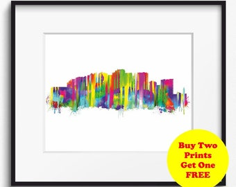Malaga Skyline Watercolor Art Print (389) Cityscape Spain