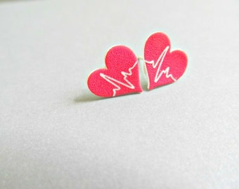 Heart Beat Stud Earrings for a Doctors or Nurse (Matte)