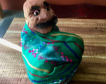 Mexican Folk Art - Hand Carved Sitted Man Figure - Coconut Figurine