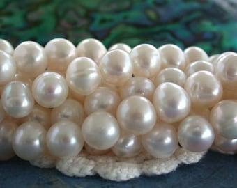 Fresh Water Pearls, White Fresh Water Pearls, Wedding Pearls, Potato Pearls, Heirloom White Fresh Water Pearls  FWP-058