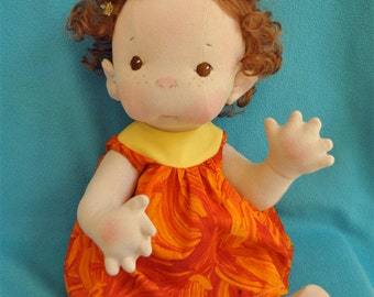"""SALE! Fretta's Peanut Baby Doll.  18"""" / 46 cm. Natural Soft Sculpted Jointed Baby, Child Safe Cloth Doll"""