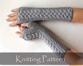 KNITTING PATTERN - Braided Knit Pattern Fingerless Gloves Winter Arm Warmers Womens Hand Warmers Cable Fingerless Mittens Gray PDF - P0059