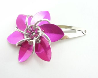 Pink Flower Hair Barrette Made From Anodized Aluminum Scalemaille