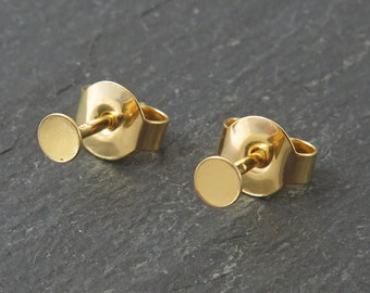 Gold Vermeil Ear Post with Flat Pad and Back 3mm ~ PAIR
