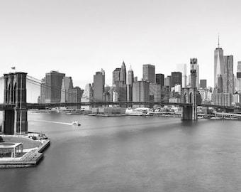 NYC Photography, New York City Skyline, Manhattan, NYC Skyline, Brooklyn Bridge, New York Skyline on Canvas, New York Wall Art, Big Apple