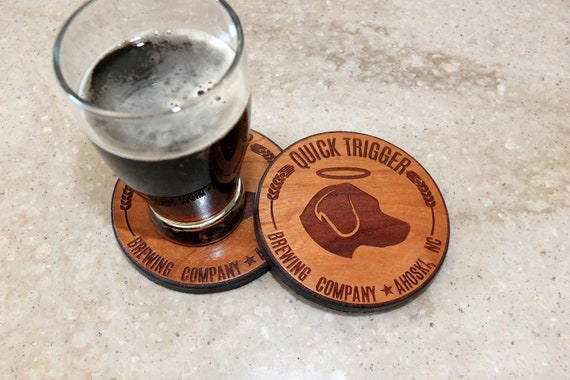 Custom Wooden Coasters Engraved on Cherry Wood. Housewarming Gift-Home Decor-Home Bar Decor-Home Brewer Gift-Wedding Gift