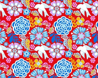 Folk Floral in Red, Bird, Mexican Folklore Collection by David Textiles 100% Cotton, by the yard