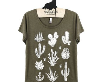 Small-  Tri-Blend Olive Dolman Tee with Cactus Screen Print-
